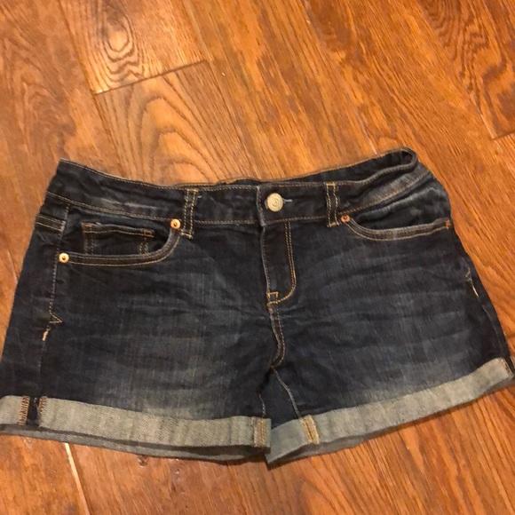 Aeropostale Pants - Dark blue denim midi shorts